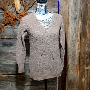 Brown with lace neckline sweater